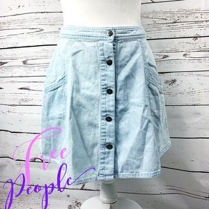 Free People Button Down Faded Jean Skirt